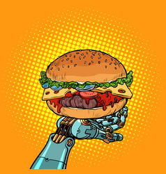Burger on a robot arm vector