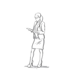 Business woman reading documents sketch silhouette vector