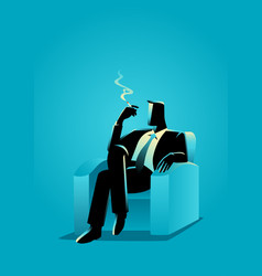 Businessman sitting comfortable in the sofa while vector