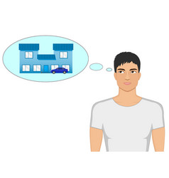 cartoon guy dreaming of a house and a car vector image