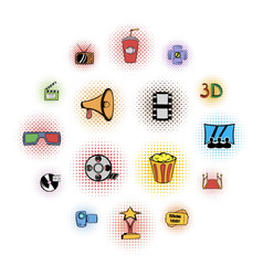 cinema comics icons set vector image
