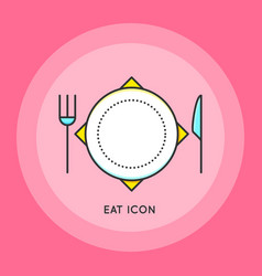 Clean plate with knife and fork vector