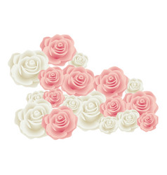 Colorful bud roses floral design vector