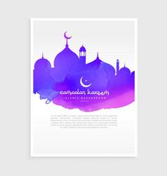 Colorful ink style ramadan kareem flyer poster vector