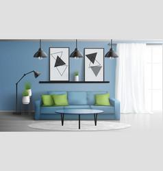 Comfortable living room modern interior vector