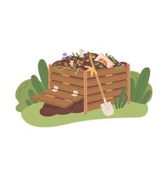 Compost box full of organic bio waste pile vector