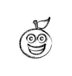 contour kawaii fruit orange happy icon vector image