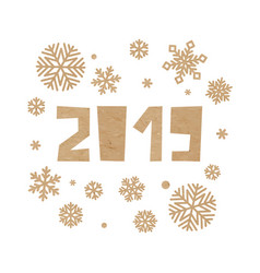 craft paper snowflakes on white background vector image