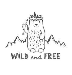 Cute bear on mountains background and wild vector