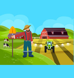 Farm worker with shovel flat vector