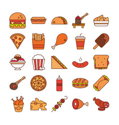 fast food dinner and menu tasty meal and vector image