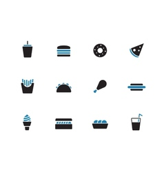 Fast food duotone icons on white background vector