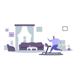 Fat obese man running on treadmill oversize fatty vector