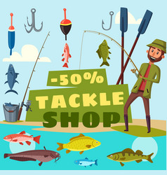 fishing shop tackles cartoon vector image