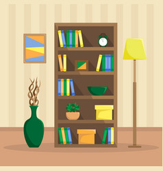 flat of a cozy bookcase with books clock plants vector image