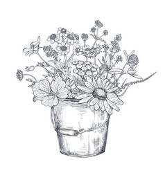 Floral composition with black and white vector