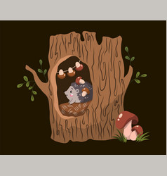 forest creatures concept with cute little hedgehog vector image