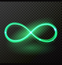 Green neon light infinity shine trail vector