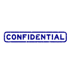 grunge blue confidential word square rubber seal vector image
