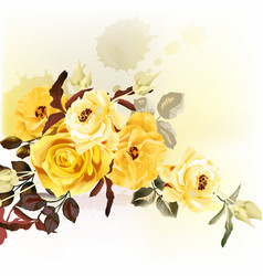 Grunge romantic design with beige roses vector