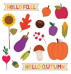 Hello fall nature elements clip art set vector