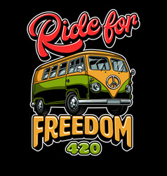 Hippie vitage bus vector