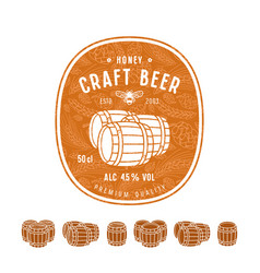 honey beer label and design elements vector image