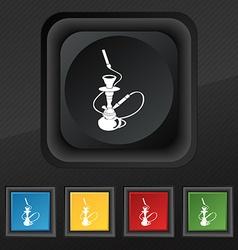 Hookah icon symbol Set of five colorful stylish vector image