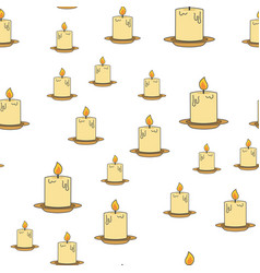 Inflamed candles seamless pattern on white vector