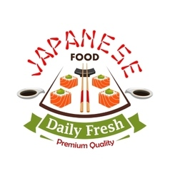 Japanese daily fresh food label emblem vector image