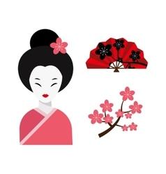 Japanese woman folk art maiden character vector