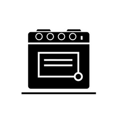 kitchen oven icon black sign vector image