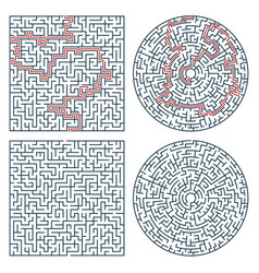 Labyrinth maze find path and exit search riddle vector
