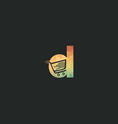 Letter d shopping logo design vector
