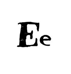 Letter e handwritten by dry brush rough strokes vector