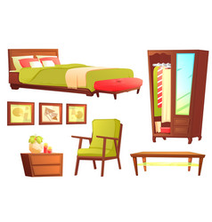 Living or bedroom object set vector