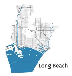 long beach map detailed map beach city vector image
