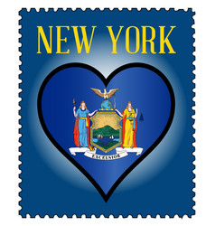 Love new york flag postage stamp vector