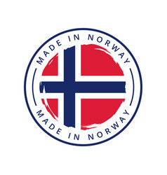 made in norway round label vector image