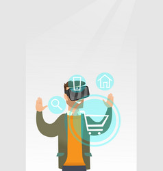 man in virtual reality headset shopping online vector image