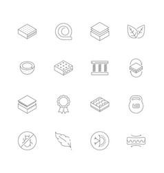 Mattress icons orthopedic memory foam healthcare vector