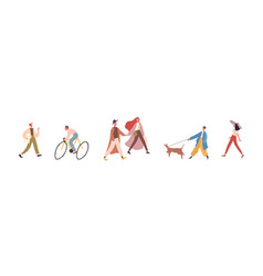 modern faceless people walking and riding bicycle vector image