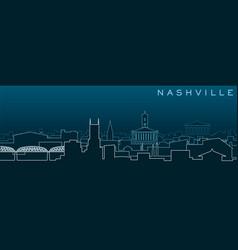 Nashville multiple lines skyline and landmarks vector