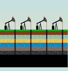 Oil pumps and rig on sky background vector
