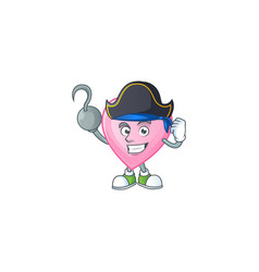 One hand pirate pink love cartoon character vector