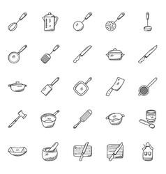 Pack kitchen utensils doodle icons vector