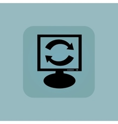 Pale blue exchange monitor icon vector