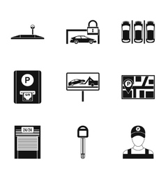 Parking area icons set simple style vector