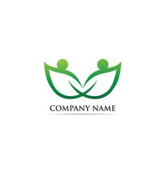 People leaf go green logo vector