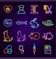 pet vet neon icons vector image